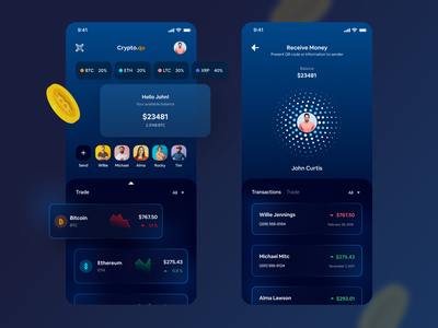 Crypto Currency App home profile chart graph icon codetheorem bitcoin currency crypto theorem code android ios vector branding illustration design ux