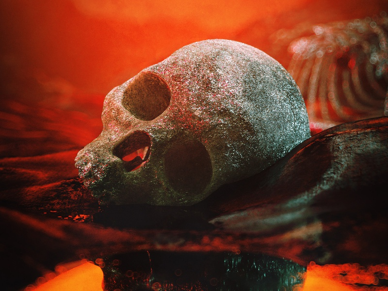 Skull octane death red water dirty evil terror c4d skull