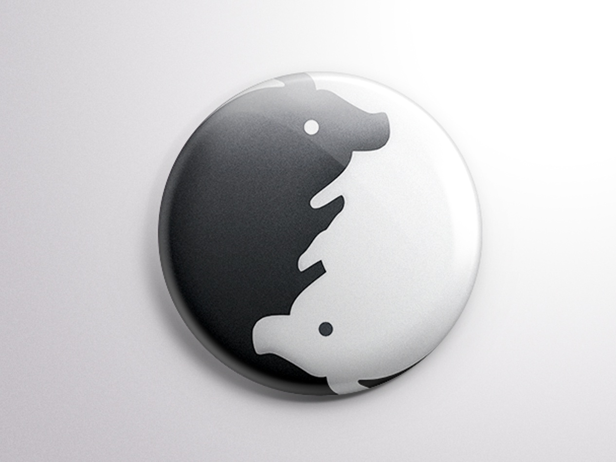 Pig badge theintro black and white yin and yang tai chi photo ps pig illustration china beautiful lovely