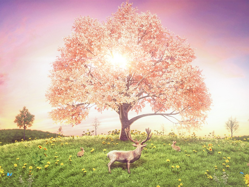 Tree and deer butterfly charming sunlight grassland sun rabbit flower deer grass tree 3d 2019 china theintro beautiful c4d