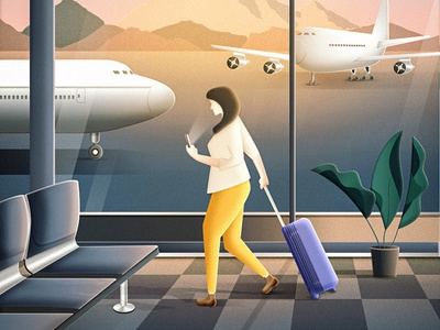 Business lady airport hurry glass bussines suitcase mountation shadow sun phone lady plain aircraft plant airport beautiful design illustration