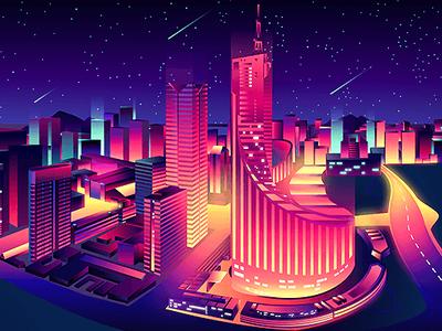 Hefei station web page side illustration 2019 night color vector 3d beautiful star city china 中国 合肥 building illustraion hefei