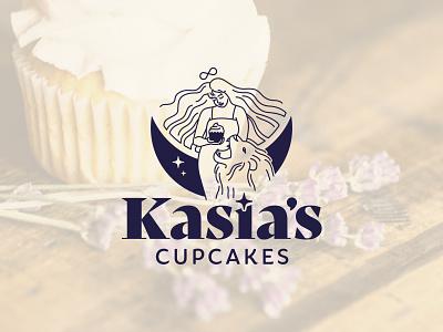 Kasia's Cupcakes Logo vector branding celestial moon infinity lion strength tarot visual identity brand design logodesign logo muffins pie cookies cake bakery cupcake cupcakes