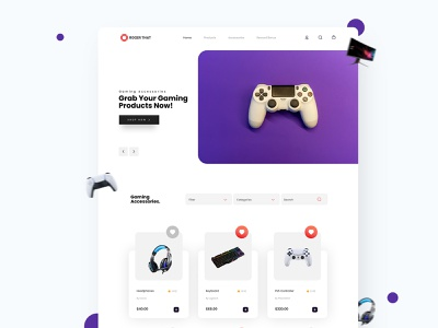 Gaming Products Website Design. ramotion minimal designs web ui design website designs landing page mobile application mobile app design mobile app dribbble figmadesign visual design user interface design user interaction user interface uxdesign ux uiux uidesign ui design ui