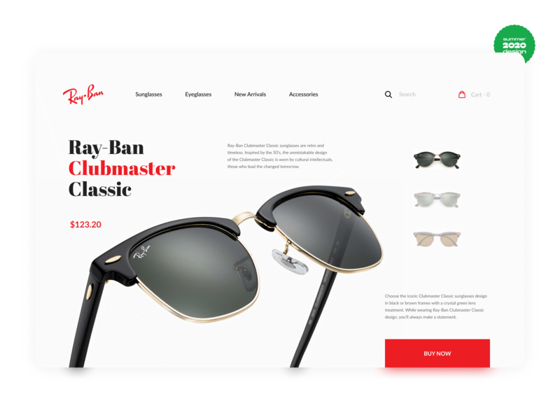 Rayban Sunglasses - Web Design Concept ecommerce rayban figma interface glasses clothes wear uxui ui ux mobile web firstweek challenge design 2020 summer