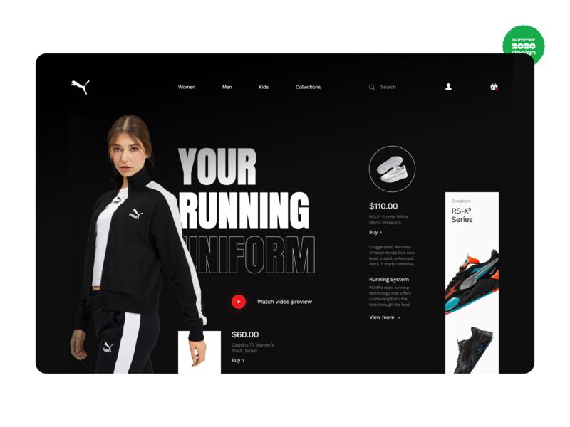 Puma Tracksuit - Web Design Concept fashion sport tracksuit puma ux ui summer mobile interface firstweek figma ecommerce design clothes 2020