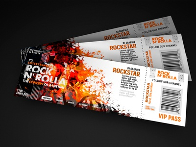 Ticket Design concert music entertainment ticket ticket design photoshop print design illustration design graphic designer