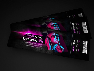 Ticket Design gradient club night neon ticket design photoshop print design illustration design graphic designer