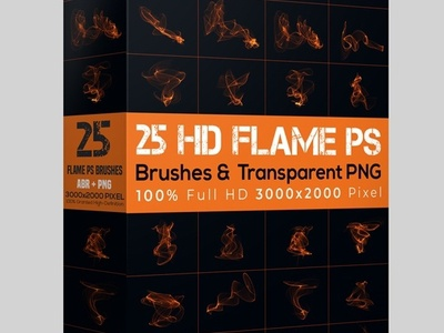 25 Flame Brush & Transparent PNG