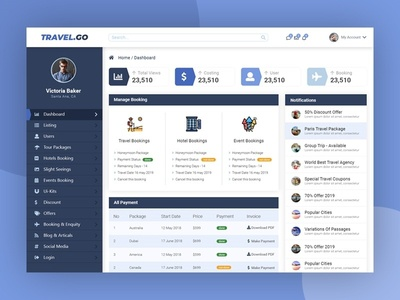 Travel Dashboard Design