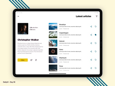 Daily UI 06 - Blog user profile