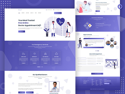 Doctor Appointment Website Landing Page website userinterface clean ui landing page ui ambulance service support online patient therapy treatment medical helth emergency hospital clinic doctor appointment appointment