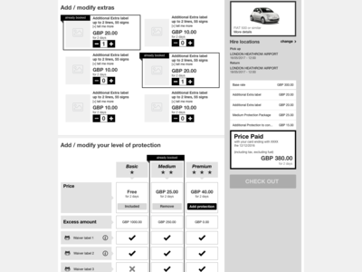 wireframe for extras, protection and tally