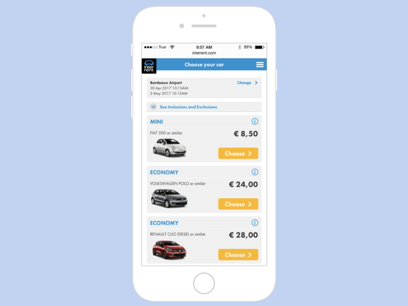 Car rental results page results list view list mobile card web design product booking system ux e-commerce ui
