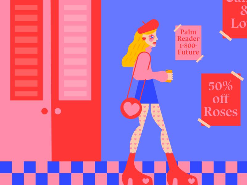 Post - Valentine Stroll girl color vibrant illustrator debut colorful flat vector design illustration graphic design digital illustration art