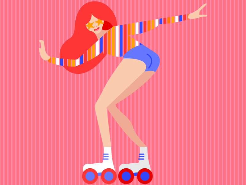Rolling Into The Weekend girl color vibrant illustrator debut colorful flat vector design illustration graphic design digital illustration art