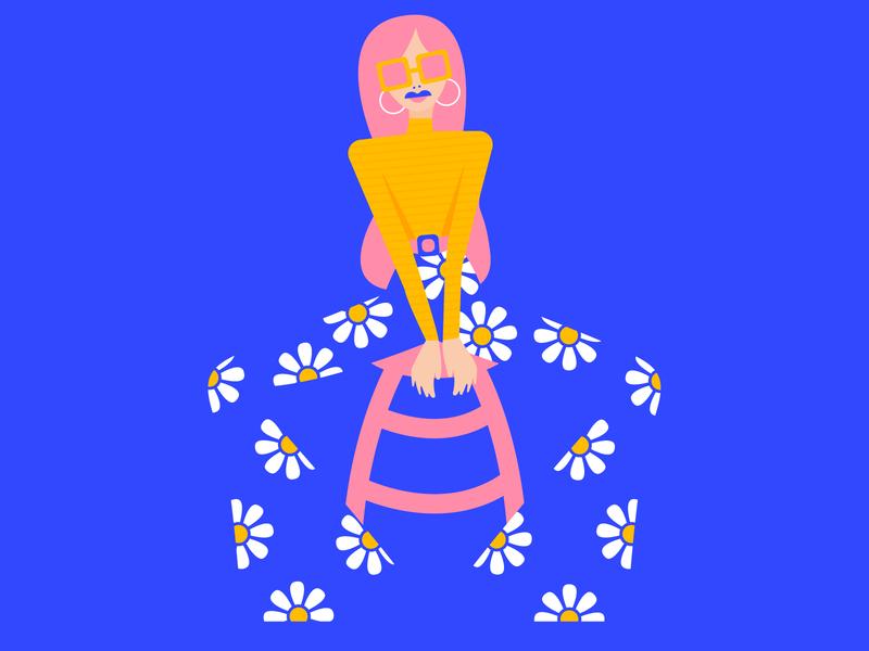 Groovy, Baby girl color debut vibrant illustrator colorful flat vector design illustration graphic design digital illustration art