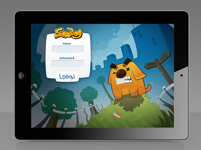 Sumdog Login Screen character design dog cartooning cartoon illustration ui login