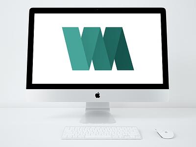 Will Arbuckle Graphic Design logo wa blue green green blue logo design a w monogram folded paper