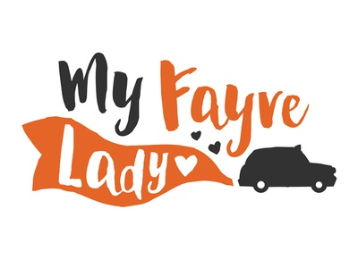 My Fayre Lady Logo love hearts love handwritten script orange logo wedding taxi