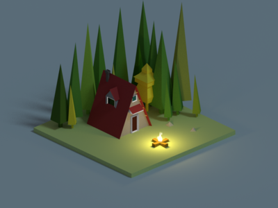 A-frame In the Woods illustration low poly b3d blender fire cozy isometric woods cabin