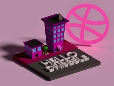 Hello Dribbble! :) city hello dribbble debutshot design low poly b3d first shot isometric blender