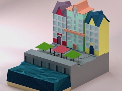 Town By the Water city texture travel b3d design low poly isometric blender