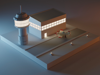 Low Poly Airport dribbble night neon airplane lowpoly isometric 3d blender
