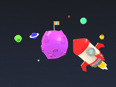 Space Crusader adventure exploration galaxy space 3d b3d low poly isometric blender
