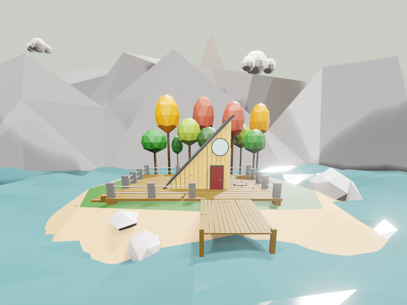Cabin In The Mountains adventure cabin design 3d low poly b3d isometric blender