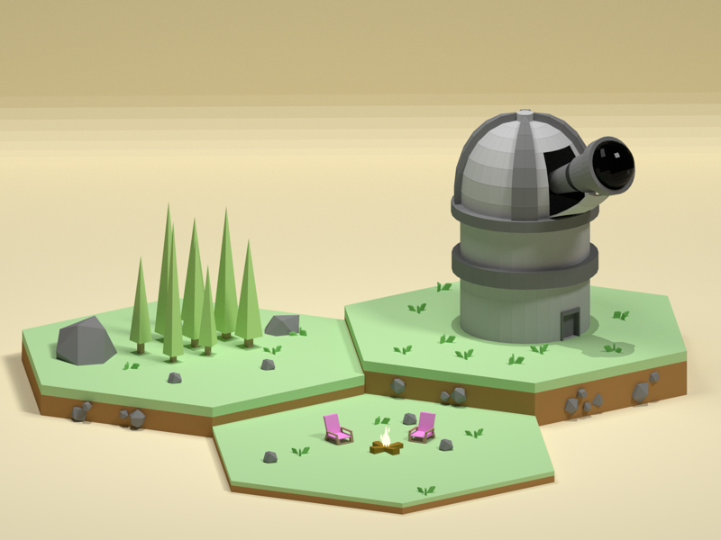 Observatory outdoors nature design observatory b3d lowpoly blender isometric