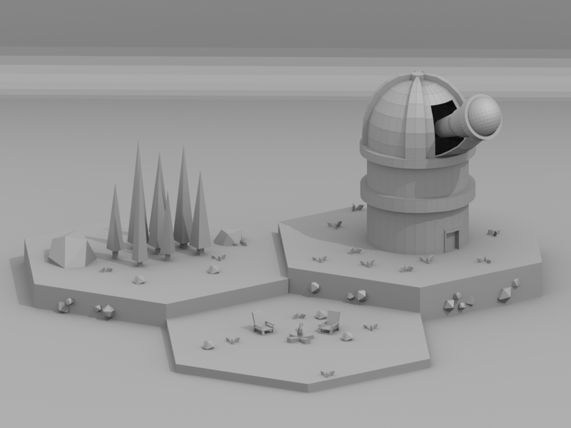Clay Observatory blender3d clayrender observatory simple clay design 3d lowpoly low poly b3d isometric blender