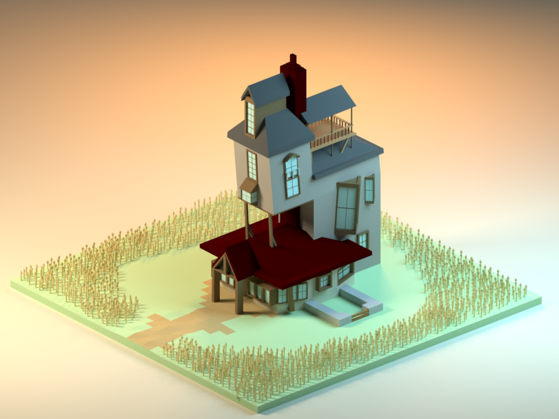 The Burrow wizard harrypotter design lowpoly 3d low poly b3d isometric blender