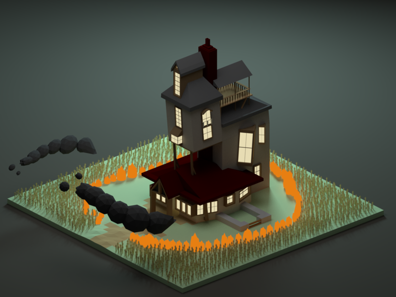 Attack On The Burrow burrow harrypotter halfbloodprince fanart render lowpoly 3d low poly design b3d isometric blender