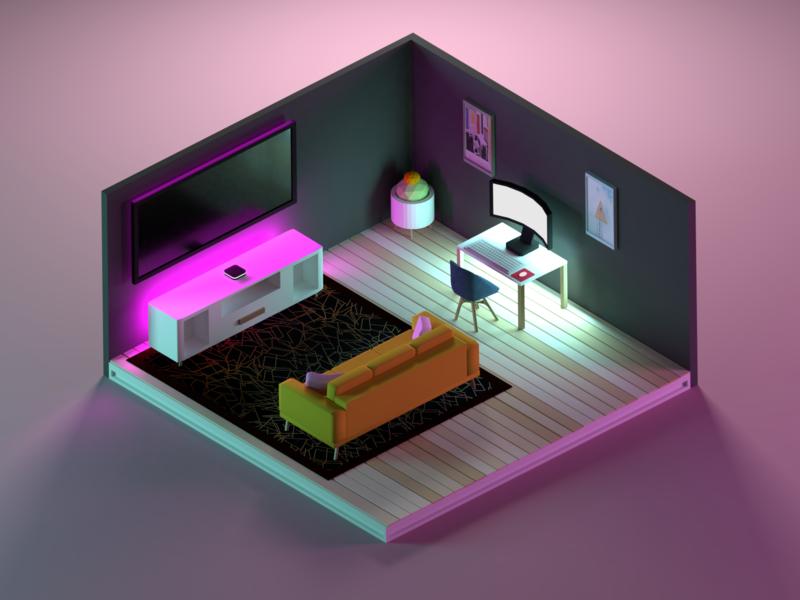 Neon Office illustration 3d aesthetic neon office low poly design b3d isometric blender