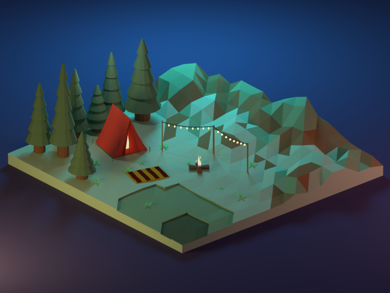 Long Hikes and Summer Nights camping neon adventure aesthetic illustration 3d low poly design b3d isometric blender