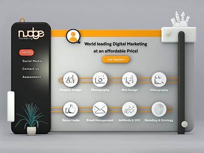 Nudge - Website Design - Illustration website illustration design 3d marketing digital nudge
