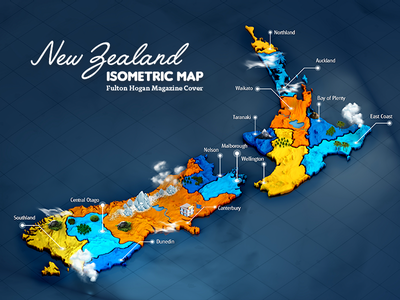 NZ FH Map - Thumbnail yellow blue orange water 3d header map isometric color project behance thumbnail fulton