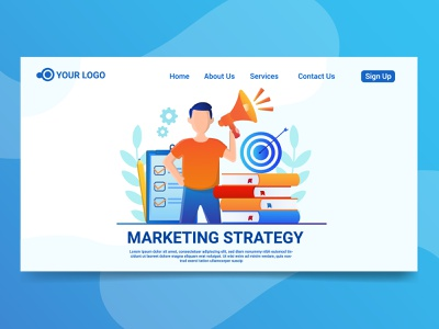 Marketing Strategy uidesign landing page vector illustration graphicdesign