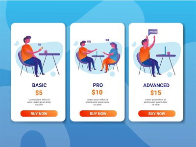 Price table illustration illustration design tables pricing character illustration website landing page pricing tables