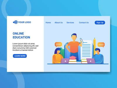 Landing page illustration online education illustration design illustration study education online education online illustration online education online education landing page