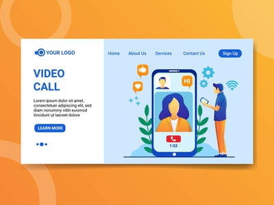 Landing page video call illustration design video call illustration video call illustration video call character character design landing page design illustration landing page