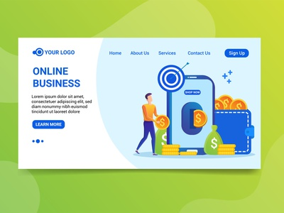 Landing page online business illustration website character illustration design design character design online business illustration online business landing page illustration