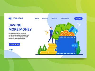 Landing page saving more money illustration character design character website saving money illustration money design landing page saving more money illustration