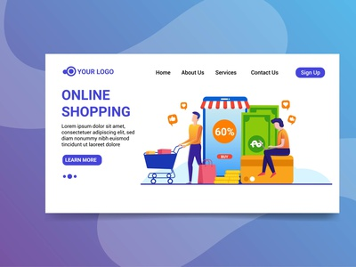 Landing page online shopping illustration character design character shopping online website design online shopping illustration online shopping landing page online shopping illustration landing page