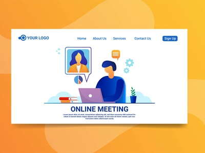 Landing page meeting online illustration landing page design meeting online character design character meeting online design website meeting online character meeting online illustration illustration landing page