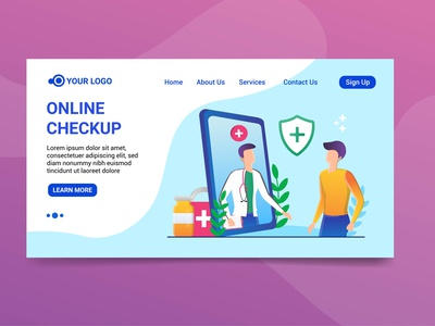 Landing page online checkup Illustration landing page website character design design health doctor online chekup illustration