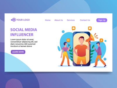 Landing page social media influencer illustration social media website illustration social media character design social media influencer illustration landing page