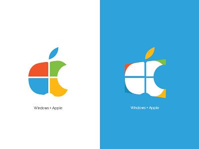 Windows + apple graphicdesigner ilustrator logoart logoapple logowindows visualart logo