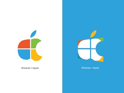 Windows + apple visualart logowindows logoart logoapple logo ilustrator graphicdesigner